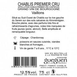 Contre-étiquette Chablis 1er Cru Vaillons